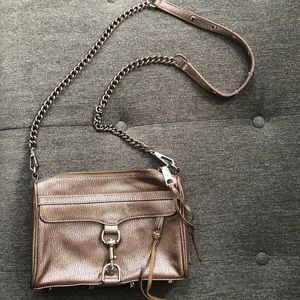 Mini MAC crossbody bag in metallic rose gold